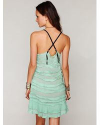 Free People | Green Fp One Poison Pintuck Slip | Lyst
