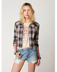 Free People - Blue 5 Pocket Denim Cut Offs - Lyst