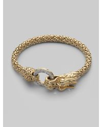 John Hardy | Metallic Diamond & 18k Gold Dragon Bracelet | Lyst