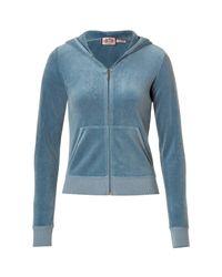 Juicy Couture | Federal Blue Velvet Logo Back Zip Hoodie | Lyst