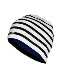 Lacoste | Blue Ivory Marine Striped Reversible Cap for Men | Lyst
