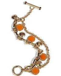 Marc By Marc Jacobs - Metallic Gold Bright Orange Charm Bracelet - Lyst
