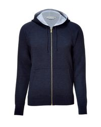 Marc Jacobs | Blue Navy/grey Cashmere and Silk Blend Zip Hoodie for Men | Lyst