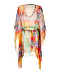 Matthew Williamson Escape | Orange Multicolor Printed Silk Chiffon Caftan | Lyst