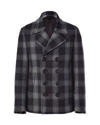Neil Barrett | Gray Charcoalnavy Check Pea Coat for Men | Lyst