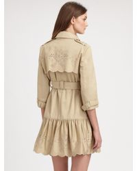 RED Valentino   Natural Embroidered Trenchcoat   Lyst