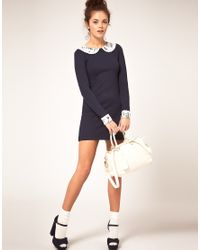 River Island - Blue Shift Dress with Peter Pan Collar - Lyst
