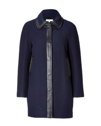 Sandro | Dark Blue Short Coat with Leather Trim | Lyst