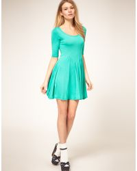 ASOS Collection | Asos Petite Exclusive Green Jersey Skater Dress | Lyst