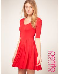 ASOS Collection | Asos Petite Exclusive Red Jersey Skater Dress | Lyst