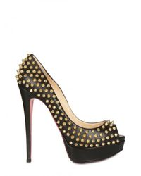 Christian Louboutin | Black 150mm Lady Peep Leather Pumps | Lyst