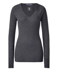 Dear Cashmere - Gray Anthracite Mélange V-neck Cashmere Pullover - Lyst