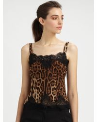 Dolce & Gabbana | Black Leopard Print Top | Lyst