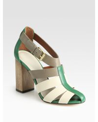 Elizabeth and James | Green E-Melia Colorblock Leather Sandals | Lyst