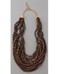 Kenneth Jay Lane - Metallic Dark Wood & Bead Necklace - Lyst