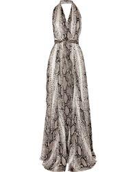 Lanvin | Multicolor Python-print Silk Halterneck Gown | Lyst