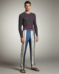 Lanvin   Blue Striped Silk Pants for Men   Lyst