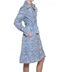 Luisa Beccaria | Blue Floral Lace Trench Coat | Lyst