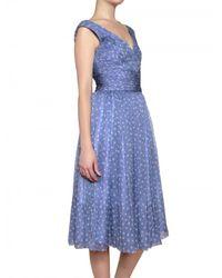 Luisa Beccaria | Blue Polka Dot Pleated Silk Chiffon Dress | Lyst