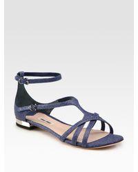 Miu Miu | Orange Stingray Leather Sandals | Lyst