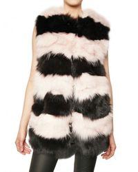 MSGM - Black Striped Fox Vest Fur Coat - Lyst