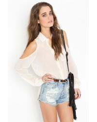 Nasty Gal - White Cold Shoulder Blouse - Ivory - Lyst
