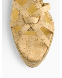 Oscar de la Renta | Natural Clara Cork And Leather Espadrille Sandals | Lyst