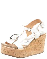Pedro Garcia | White Leather Buckle Cork Wedge Sandal | Lyst