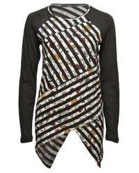 Proenza Schouler | Multicolor Floral Stripe Long Sleeve Spiral T-shirt | Lyst
