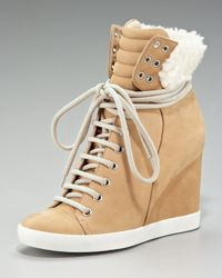 See By Chloé | Natural Gondola Shearling Wedge Sneaker | Lyst