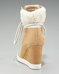 See By Chloé - Natural Gondola Shearling Wedge Sneaker - Lyst