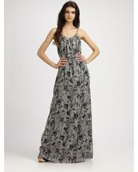 Theory | Black Musea Printed Maxi Dress | Lyst