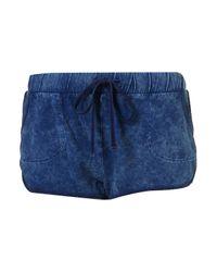 TOPSHOP - Blue Acid Jersey Runner Shorts - Lyst