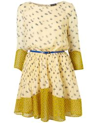 TOPSHOP | Yellow Buttercream Flower Patch Dress | Lyst