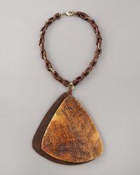 Donna Karan - Brown Wooden Pendant Necklace - Lyst