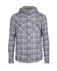 AllSaints | Gray Conscription Hooded Shirt for Men | Lyst