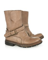 Burberry | Brown Buckled Leather Ankle Boots | Lyst