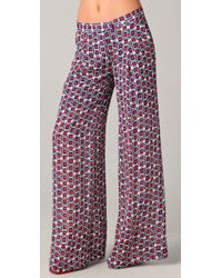 Elizabeth and James | Red Evelyn Wide-Leg Printed Silk-Crepe Pants | Lyst