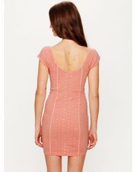 Free People | Pink Stretch Eyelet Bodycon | Lyst