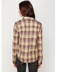 Free People - Brown Studded Plaid Buttondown - Lyst