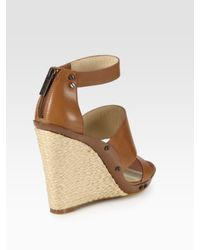 Kors by Michael Kors | Brown Eliza Leather Espadrille Wedge Sandals | Lyst