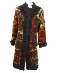 Oscar de la Renta - Multicolor Embroidered Velvet Trapunto Coat - Lyst