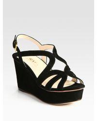 Prada | Black Suede Multistrap Wedge Sandals | Lyst