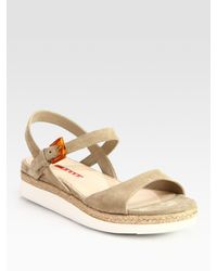 Prada | Natural Suede And Micro-Foam Flat Sandals | Lyst