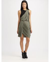 Alexander Wang | Gray Asymmetrical Draped Dress | Lyst