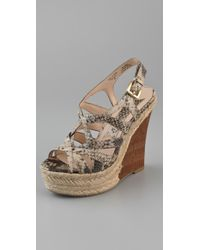 Boutique 9 | Natural Flower Snake Print Wedge Sandals | Lyst