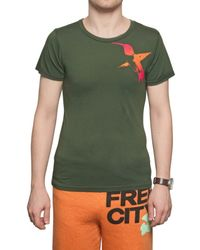 FREE CITY - Green Bird Printed Jersey T-shirt for Men - Lyst