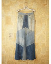 Free People - Blue Vintage Patchwork Denim Skirt - Lyst