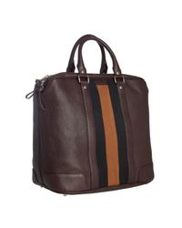 Gucci | Brown Chocolate Leather Logo Stripe Weekender Tote for Men | Lyst