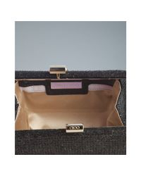 Jimmy Choo | Black Glitter Fabric Mini Tube Clutch | Lyst